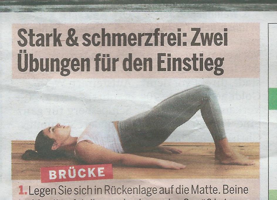 Pilates Übung Brücke Trainings-Optimierung stark schmerzfrei